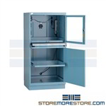Dust proof locking computer security cabinet with roll-out shelf designed as an enclosure for dusty and dirty environments, cabinet features a shatter resistant polycarbonate see thru door for viewing monitor for garages, industrial production floors