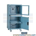 PC dust locking Enclosure on wheels protects computers and technology from industrial debris with filtration system and internal blower, cabinet locks allowing computer to be a kiosk on the manufacturing floor while also preventing system damage