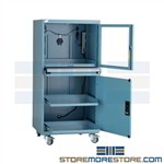 Rolling dust proof computer cabinet protects your technology from dust, vandalism and theft with this high security locking enclosure making a perfect computer CPU, Printer and Monitor storage in your shop, or production line mobile casters allow movement