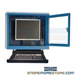 Wall hung dust proof computer cabinet protects CPU, Monitor in a mounted enclosure with a polycarbonate see thru locking door with external keyboard tray and mouse preventing computer theft and damage from dirt and dust in the industrial work environment
