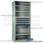 Industrial Shelving with Roll-out Parts Drawers R5SEC-8718012 | Storage Shelves 36 x 18 x 87