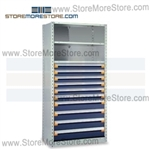 Industrial Shelving with Roll-out Parts Drawers R5SEE-7548052 | Storage Shelves 36 x 24 x75