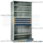 Steel Shelving with Roll-out Drawers R5SGC-8718012 | Industrial Storage Shelves 42 x 18 x 87