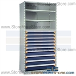 Steel Shelving with Roll-out Drawers R5SGC-8748052 | Industrial Storage Shelves 42 x 18 x 87
