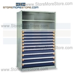 Industrial Shelving with Roll-out Parts Drawers R5SHC-7548052 | Storage Shelves 48 x 18 x 75