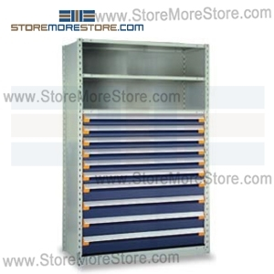 Alternative Views  sc 1 st  StoreMoreStore & Industrial Shelving with Roll-out Parts Drawers R5SHC-7548052 ...
