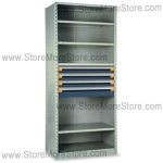 Industrial Shelving with Roll-out Parts Drawers R5SHC-8718012 | Storage Shelves 48 x 18 x 87