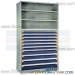 Industrial Shelving with Roll-out Parts Drawers R5SHC-8748052 | Storage Shelves 48 x 18 x 87