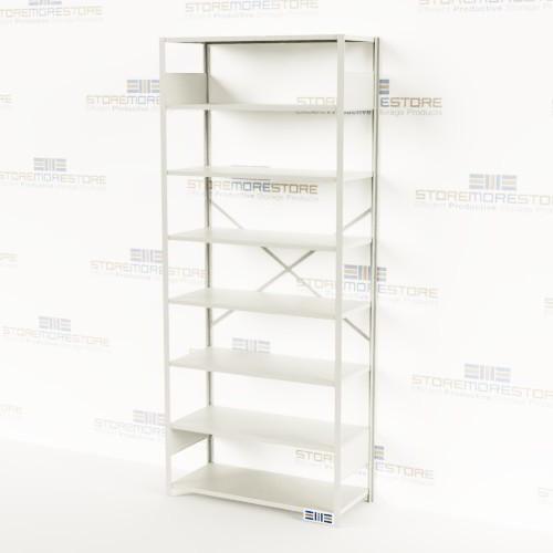 99 high free standing storage shelving 42x18x99 rousseau shd1550 rh storemorestore com 18 deep shelfs 18 deep wood shelves