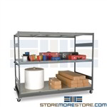 Bulk Storage Rack on Wheels Rolling Shelves Steel