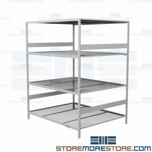 warehouse metal shelving 60x48x99 rousseau srd5082w 4 levels with rh storemorestore com warehouse steel shelving units Boltless Steel Shelving
