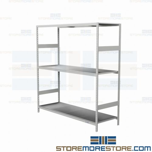 24 deep metal decked bulk racks 72x24x75 rousseau srd5102s 3 levels rh storemorestore com heavy duty steel warehouse shelving heavy duty steel warehouse shelving