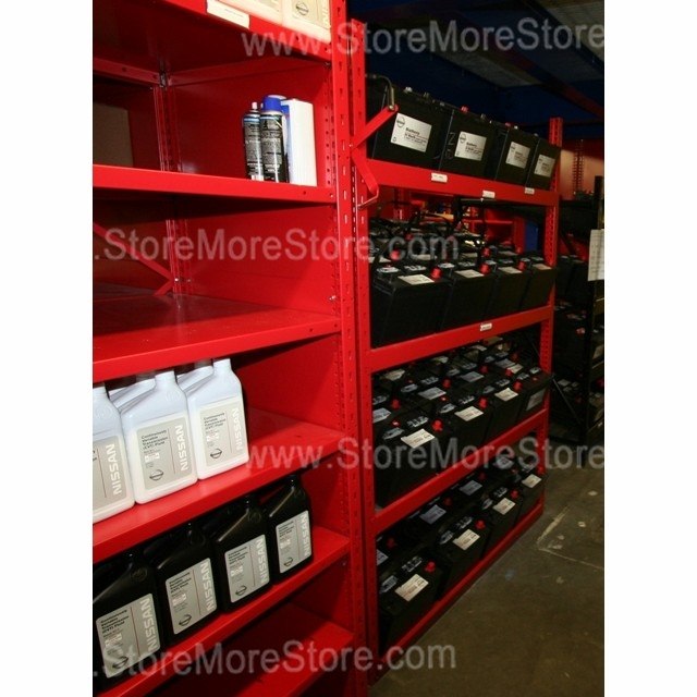 Battery Display Storage Rack With Slanted Battery Shelves