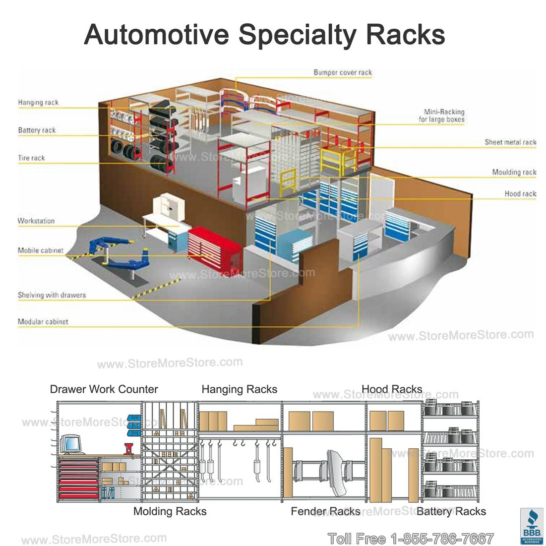 Windshield storage racks srp0480 auto parts room for Parts room organization