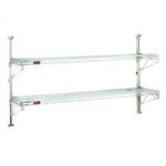 "(4) 14""-Width Shelves with 63"" Post, Stainless Steel Finish, End Unit - Prepackaged, Adjustable Post Wire Wall Mount, #SMS-83-PWE14-4S"