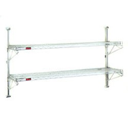 "(2) 18""-Width Shelves with 33"" Post, Stainless Steel Finish, End Unit - Prepackaged, Adjustable Post Wire Wall Mount, #SMS-83-PWE18-2S"