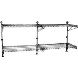 "(4) 14""-Width Shelves with 63"" Post, Stainless Steel Finish, Mid Unit - Prepackaged, Adjustable Post Wire Wall Mount, #SMS-83-PWM14-4S"