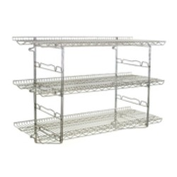 "18"" x 48"" Chrome Finish, 3 Tier Bracket Kit, 2 Shelves and 1 Pair of Brackets - Piggyback Wall Mounted Shelf Kit, #SMS-83-S2-3B-SSW1848C"