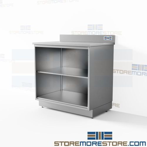 Stainless Open Base Cabinet 3 Counter Units Kitchen Restaurant