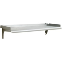 "15"" x 60"" Rolled Front Edge, 14/304 Stainless Steel - Snap-N-Slide® Solid Wall Shelf. 225 Lbs. Weight Capacity, #SMS-83-SWS1560-14/3"