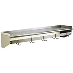 "18"" x 120"" Wall Shelf with Removable Hooks, #SMS-83-WSP18120"