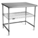 "36"" x 48"" 16 Gauge Type 304 Brushed Stainless Steel Top with Chrome Base - Ac Series; Adjustable® Work Surface Systems, #SMS-84-AC3648T"