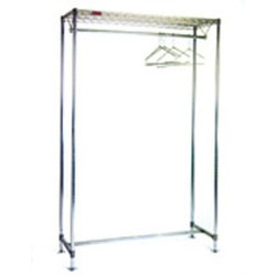 "24"" x 72"" Chrome Finish, Freestanding Gowning Rack with Hanger Tube, #SMS-84-C2472-GRT"