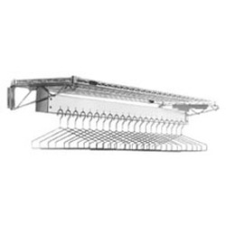 "24"" x 72"" Chrome Finish, Wall Mounted Gowning Rack with Hanger Slots. 27 Hanger Slots, #SMS-84-C2472-WGR"
