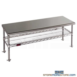 "18"" x 48"" Electropolished Finish, Gowning Bench with Standard Undershelf - Solid Top, #SMS-84-CRB1848EP"