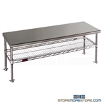 "18"" x 60"" Electropolished Finish, Gowning Bench with Standard Undershelf - Solid Top, #SMS-84-CRB1860EP"