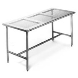 "24"" x 96"" Brushed Stainless Steel Finish, Cleanroom Table - Perforated Top, #SMS-84-CRPT2496T"