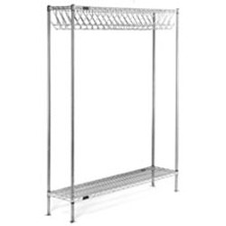 "14"" x 48"" Electropolished Finish, Freestanding Gowning Rack with Hooks. 72 Hooks, #SMS-84-EP1448-GRH"