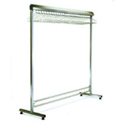 "24"" x 48"" Electropolished Finish, Freestanding Single Gowning Rack, Non-Removable Hangers. 15 Hanger Slots, #SMS-84-EP2448-SGRN"