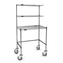 "24"" x 36"" Chrome Finish, Mobile Unit - Wire Top Unit with Two Overshelves, Cleanroom Workstation, #SMS-84-MWS2436WT"
