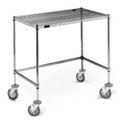 "24"" x 48"" Chrome Finish, Mobile Unit - Basic Wire Top Unit, Cleanroom Workstation, #SMS-84-MWS2448C"