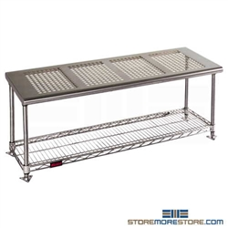 "18"" x 60"" Electropolished Finish, Gowning Bench with Standard Undershelf - Perforated Top, #SMS-84-PCRB1860EP"