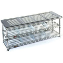 "18"" x 72"" Electropolished Finish, Gowning Bench with Standard Undershelf - Perforated Top, #SMS-84-PCRB1872EP"