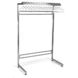 "24"" x 84"" Stainless Steel Finish, Freestanding Cantilever Gowning Rack, Non-Removable Hangers. 28 Hanger Slots, #SMS-84-S2484-CGRN"