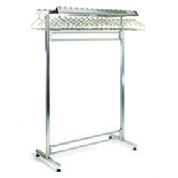 "24"" x 84"" Stainless Steel Finish, Freestanding Double Gowning Rack, Removable Hangers. 56 Hanger Slots, #SMS-84-S2484-DGRR"
