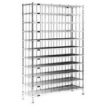 "14"" x 72"" Stainless Steel Finish, Shoe Rack. 80 Cubbies 9"" x 6-1/2"", #SMS-84-SR1472S"