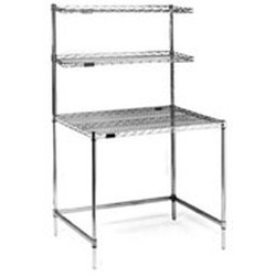 "24"" x 36"" Chrome Finish, Stationary Unit - Wire Top Unit with Two Overshelves, Cleanroom Workstation, #SMS-84-WS2436WT"