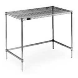 "24"" x 48"" Chrome Finish, Stationary Unit - Basic Wire Top Unit, Cleanroom Workstation, #SMS-84-WS2448C"