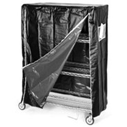 "24"" x 48"" Black Esd with Zipper Cart Cover. 63"" Post Height, #SMS-85-CZ-63-2448-ESD"