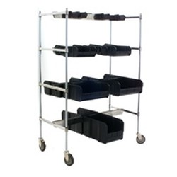 "24"" x 42"" Chrome Finish, Double Sided Bin-Holder Rail Cart, #SMS-85-DBHC2442C-4"