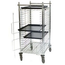 "21-5/8"" x 31-3/4"" x 49-3/8"" Side Load, Half Height - Electronic Vibration Dampening Tray Cart. 1-3/4 Sliding Space. 20 Full Size Pan Capacity, #SMS-85-ETCS20-Z"
