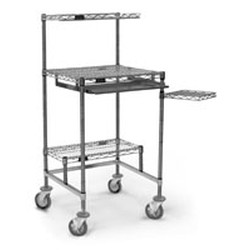 "24"" x 24"" Stainless Steel, Mobile Computer Workstation with Resilient-Tread Casters and 14"" x 24"" Undershelf, #SMS-85-MCWS2424S"