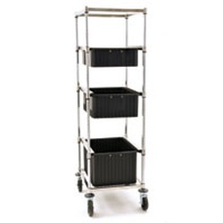 "26"" x 20-5/8"" To 26"" x 29-3/8"" One-Bay Tote Box Carrier, Adjustable with Standard Resilient Casters, #SMS-85-TBC-R"
