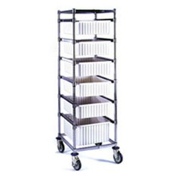 "26"" x 22-5/8"" One-Bay Tote Box Carrier, Non-Adjustable with Poly Casters, #SMS-85-TBC1-P"