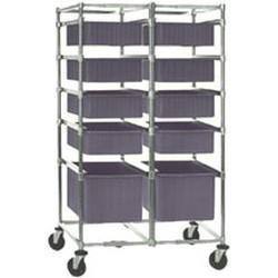 "26"" x 41-3/4"" Two-Bay Tote Box Carrier, Non-Adjustable with Poly Casters, #SMS-85-TBC2-P"