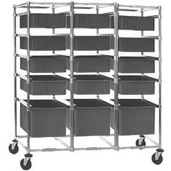 "26"" x 60-7/8"" Three-Bay Tote Box Carrier, Non-Adjustable with Poly Casters, #SMS-85-TBC3-P"